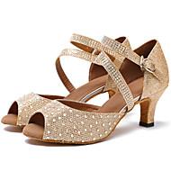 baratos Sapatilhas de Dança-Mulheres Sapatos de Dança Latina Arrastão / Courino Sandália / Salto Pedrarias / Presilha Salto Personalizado Personalizável Sapatos de Dança Branco / Khaki / Profissional
