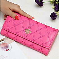 Women Bags PU Checkbook Wallet for Casual All Seasons Black Fuchsia Azure