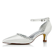 cheap -Women's Silk Spring / Fall Comfort Wedding Shoes Low Heel Pointed Toe Chain / Lace-up Ivory / Party & Evening
