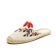 cheap Women's Slip-Ons & Loafers-Women's Shoes Linen Canvas Cotton Spring Summer Espadrilles Light Soles Sandals Flat Heel Round Toe Appliques for Casual Office & Career