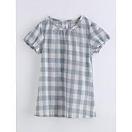 Pige T-shirt Gitter Trykt mønster,Bomuld Sommer Kortærmet