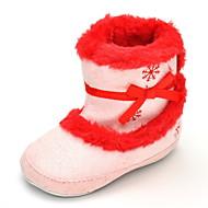 赤ちゃん フラット コンフォートシューズ ファッションブーツ 繊維 秋 冬 結婚式 カジュアル ドレスシューズ パーティー コンフォートシューズ ファッションブーツ リボン ジッパー フラットヒール ピンク フラット