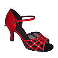 Feminino Latina Seda Sandálias Apresentação Salto Agulha Preto Vermelho 7,5 - 9,5 cm Personalizável