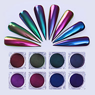 8box Chameleon Mirror Nail Glitters Powder 0.5g Chrome Pigment Manicure Nail Art Decoration Black Base Color Needed