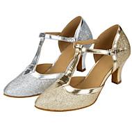 """billige Moderne sko-Dame Moderne Glitter Sandaler Ytelse Strå Kubansk hæl Gull Sølv 2 """"- 2 3/4"""" Kan spesialtilpasses"""