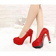 Damen High Heels Komfort Pumps Echtes Leder Frühling Winter Normal Rot 10 - 12 cm