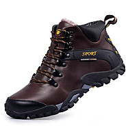 Men's Boots Comfort Snow Boots Fashion Boots Light Soles Fall Winter Real Leather Athletic Casual Outdoor Lace-up Flat Heel Black Dark