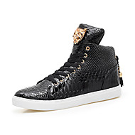 Men's Sneakers Comfort Spring Fall Microfibre Leather Athletic Casual Lace-up Flat Heel Black White Flat
