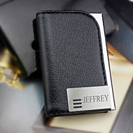 Personalized Graceful Business Black Card Holder With Leatherette Cover