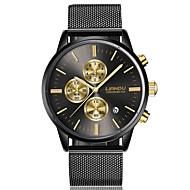 Homens Relógio Elegante Relógio de Moda Quartzo Aço Inoxidável Banda Preta Dourada