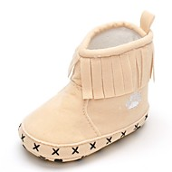 cheap Baby Shoes-Baby Shoes Fabric Winter Fall Comfort Fashion Boots Flats Tassel Magic Tape for Wedding Casual Party & Evening Outdoor Dress Black Beige