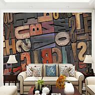 baratos Papel de Parede-Madeira Carta e Número Papel de Parede Para Casa Contemprâneo Revestimento de paredes , Tela Material adesivo necessário Mural ,
