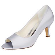 baratos Sapatos de Casamento-Mulheres Sapatos Cetim com Stretch Primavera Verão Plataforma Básica Sapatos De Casamento Salto Agulha Peep Toe para Casamento Festas &