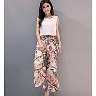 Feminino Blusa Calça Conjuntos Casual Simples Verão,Sólido Estampado Decote Redondo Sem Manga Micro-Elástica