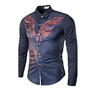 Masculino Camisa Social Casual Tamanhos Grandes Simples Primavera Verão Outono,Sólido Estampado Algodão Colarinho Clássico Manga Longa