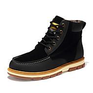 メンズ 靴 レザーレット 秋 冬 ファッションブーツ ブーツ ブーティー/アンクルブーツ 編み上げ 用途 カジュアル ブラック Brown ブルー