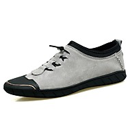 Men's Loafers & Slip-Ons Comfort Summer Fall Cowhide Walking Shoes Casual Split Joint Flat Heel Black Gray Khaki Flat
