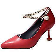 cheap Women's Heels-Women's Shoes PU Summer Comfort Light Soles Heels Kitten Heel Pointed Toe Chain for Dress White Black Red