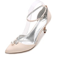 cheap Women's Shoes-Women's Shoes Satin Spring / Summer Comfort / Mary Jane / D'Orsay & Two-Piece Wedding Shoes Pointed Toe Rhinestone / Bowknot / Pearl Blue