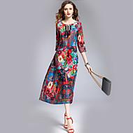Mulheres Para Noite Seda Vestido - Estampado, Floral Médio / Solto