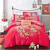 Floral 4 Piece Cotton Cotton 4pcs (1 Duvet Cover, 1 Flat Sheet, 2 Shams)