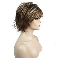 Mulher Perucas sintéticas Curto Encaracolado Castanho Claro Faux Locs Wig 100% cabelo kanekalon Riscas Naturais Peruca para Cosplay