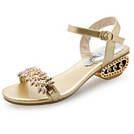 cheap Women's Sandals-Women's Shoes PU Summer Comfort Sandals Walking Shoes Low Heel Open Toe Rhinestone For Casual Gold Black Silver