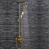 billige Rabatt Kraner-Moderne Luksus Glamour Høy kvalitet Vægmonteret Regndusj Veggmontering Keramisk Ventil To Håndtak to hull Ti-PVD, Dusjkran