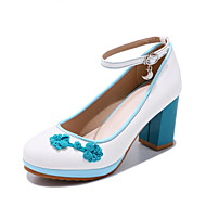 baratos Sapatos Femininos-Mulheres Sapatos Couro Envernizado Primavera / Outono Conforto / Sapatos para Daminhas de Honra / Salto minúsculos para Adolescentes