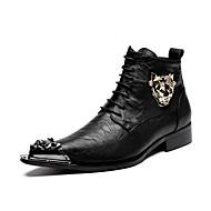 baratos Sapatos Masculinos-Homens Fashion Boots Couro / Pele Outono / Inverno Botas Preto / Festas & Noite