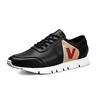 Herrer Sneakers Komfort Forår Efterår Mikrofiber Atletisk Afslappet Snøring Flad hæl Hvid Sort Flad