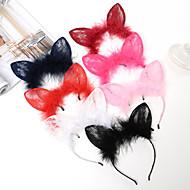 Lace Rabbit Ear Hair Hoop Fox Ears Plush Children Headband Fashion Show Party Hair Ornaments 1PCS