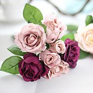 cheap Home Decor-1 Branch Silk Polyester Roses Tabletop Flower Artificial Flowers
