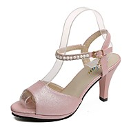 cheap Women's Sandals-Women's Shoes PU Summer Comfort Sandals Walking Shoes Stiletto Heel Open Toe Pearl for Casual Gold Pink