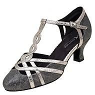 billige Kustomiserte dansesko-Dame Moderne sko Netting / Kunstlær Sandaler / Høye hæler Spenne Kustomisert hæl Kan spesialtilpasses Dansesko Svart / Sølv