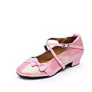 billige Moderne sko-Dame Barns Dansesko Glimtende Glitter / Paljett / Syntetisk Flate Paljett / Spenne / Drapert Lav hæl Dansesko Gull / Sølv / Rosa