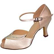 baratos Sapatilhas de Dança-Mulheres Sapatos de Dança Latina Seda Sandália Cristal / Strass Salto Agulha Personalizável Sapatos de Dança Preto / Amêndoa / Espetáculo
