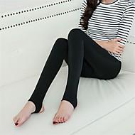 Mulheres Sólido Grossa Cor Única Flanelada Legging,Preto Bege