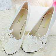 cheap Wedding Shoes-Women's Wedding Shoes Slingback Spring Fall Lace PU Wedding Dress Party & Evening Office & Career Rhinestone Bowknot Applique Beading