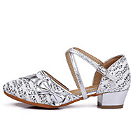 cheap Modern Shoes-Women's Kids' Dance Shoes Knit Paillette Fabric Patent Leather Cotton Flat Sandal Sneaker Indoor Sequin Buckle Buttons Ribbon Tie