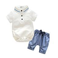 ทารก เด็กผู้ชาย ชุดกระโปรง วันเกิด / งานปาร์ตี้ / งานราตรี / กีฬา สีทึบ แขนสั้น ฝ้าย / Polyester Taffeta ชุดเสื้อผ้า ขาว / ฮอลิเดย์ / ไปเที่ยว