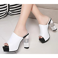Women's Sandals Comfort Basic Pump Summer PU Casual White Black Ruby 3in-3 3/4in