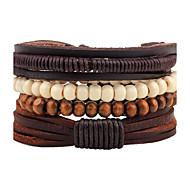 Muškarci Zamotajte Narukvice Strand Narukvice Personalized Ručno Izrađen Moda Prilagodljivo Koža Drvo Krug Jewelry Ulica Nakit odjeće