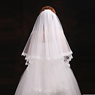 cheap Wedding Veils-Two-tier Cut Edge Wedding Veil Blusher Veils Elbow Veils 53 Pearl Tulle