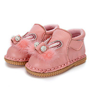 cheap Baby Shoes-Girls' Shoes Leather Winter Ballerina Comfort Flats Crystal Feather Beading Pearl Magic Tape for Casual Outdoor Gray Red Pink