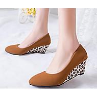 Feminino Sapatos Pele Real Couro Ecológico Verão Conforto Plataforma Básica Saltos Para Casual Preto Khaki