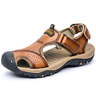 Men's Sandals Comfort Spring Summer PU Casual Low Heel Yellow Blue Light Brown Dark Brown Khaki Under 1in