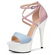 baratos Sapatos Femininos-Mulheres Sapatos Couro Ecológico Verão Sapatos formais Sandálias Salto Agulha Peep Toe Cristais / Presilha Amarelo Claro / Azul