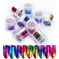 9 Roll Gradient Starry Nail Foil Paper Red Pink Gold Nail Transfer Stickers Manicure Accessories Nail Art Decorations 2.5*120cm