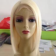 halpa -Naisten Aitohiusperuukit verkolla Remy Full Lace 130% Tiheys Suora Peruukki Blonde Lyhyt Keskikokoinen Luonnollinen hiusviiva Tummille
